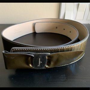 Salvatore Ferragamo Olive Green Leather Belt 80cm